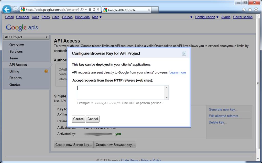 Aceptación Google Maps API