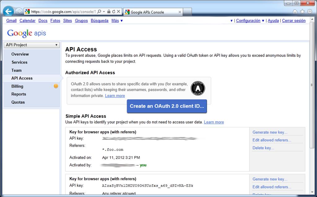 Datos Key Google Maps API